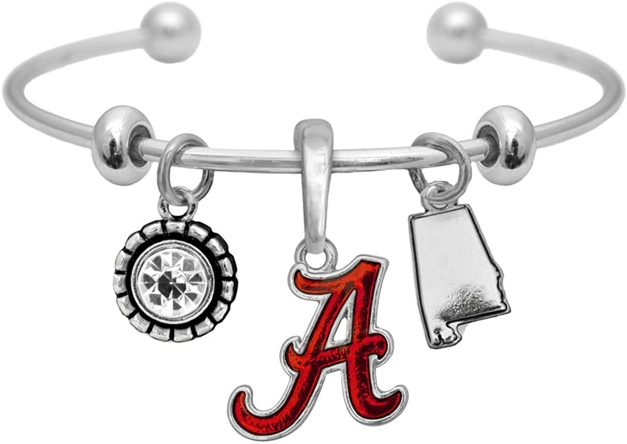 Sports Accessory Store Alabama Crimson Tide Home Sweet Home Silver Crystal Cuff Bracelet Jewelry UA