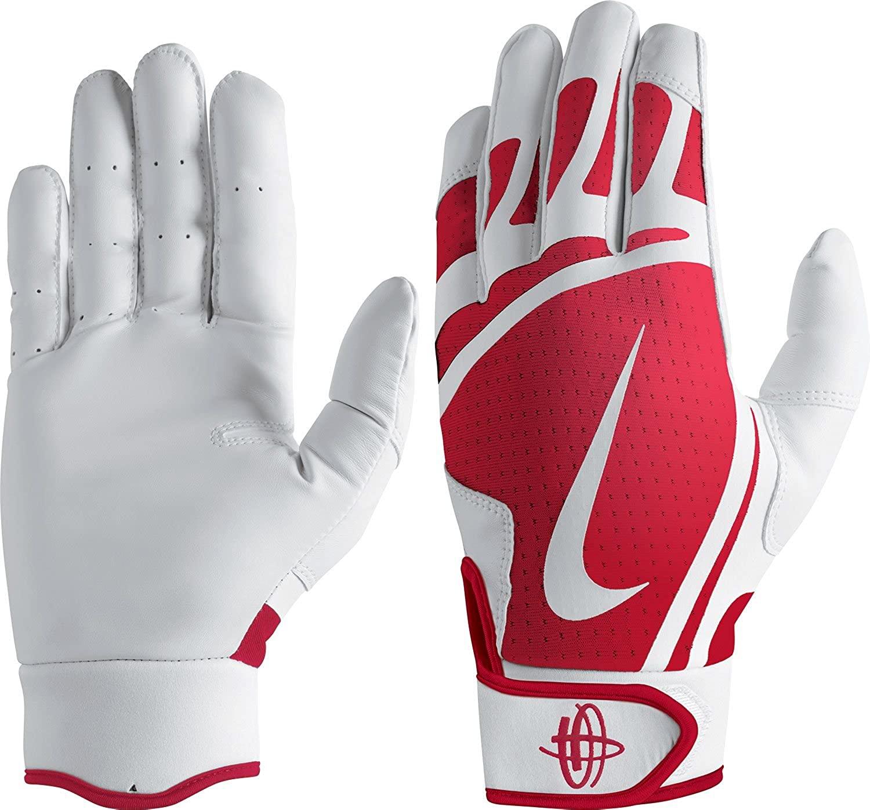 Nike Youth Huarache Edge Batting Gloves White/University Red Size Medium