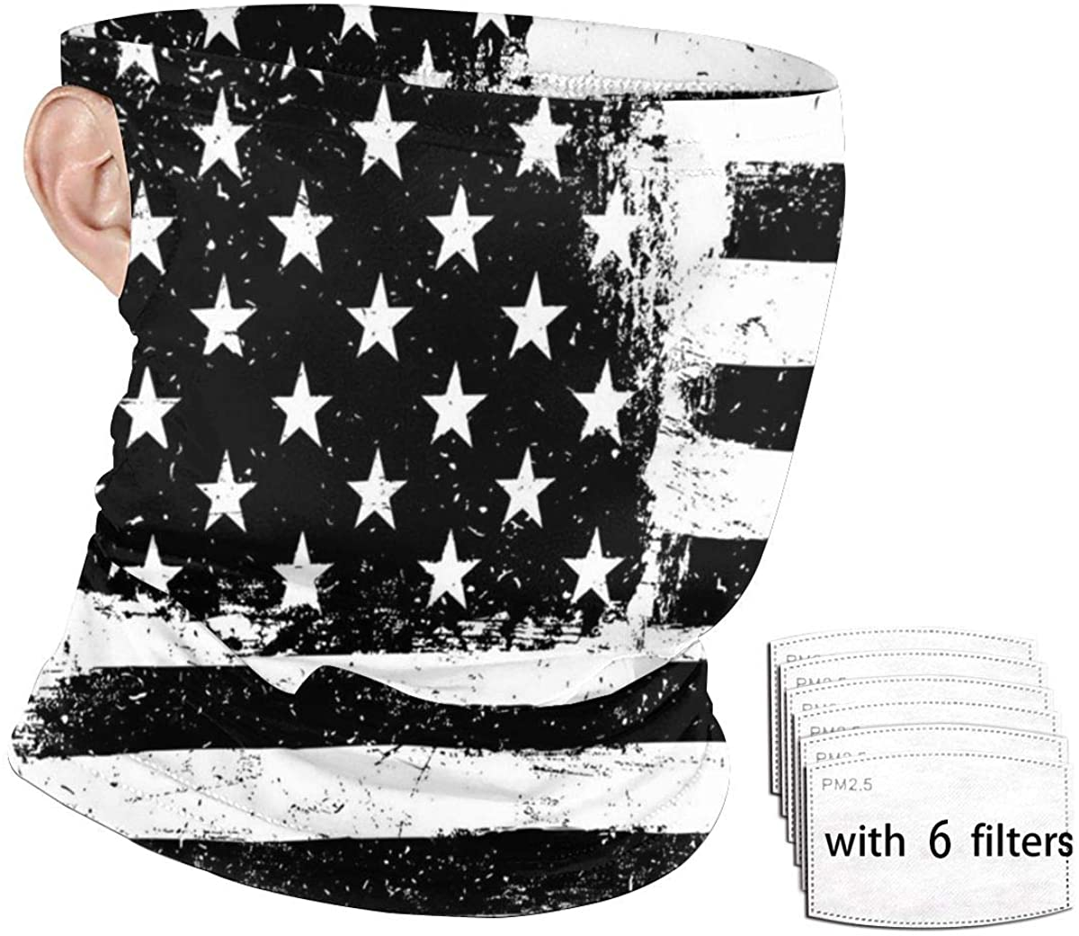 Black And White American Flag Seamless Bandana Face Mask Scarf Ear Loops with 6 Filters, Anti-Dust Neck Gaiter Headband Windproof Headwear Balaclava for Fishing Shopping
