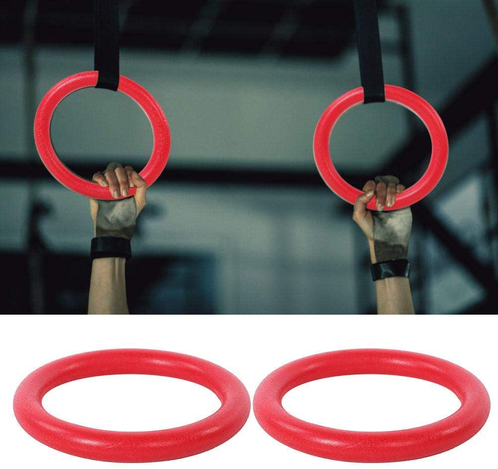 Fitness Gym Ring, 2pcs ABS Gymnastic Rings Gym Fitness Training Exercise Tool with 2pcs Straps