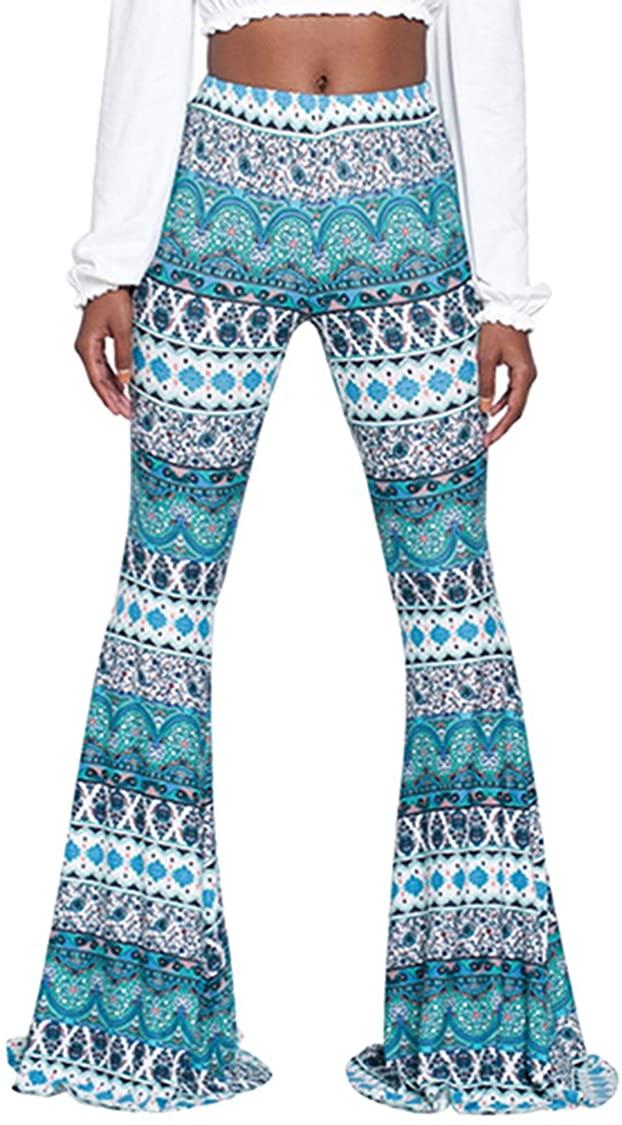 Meenew Women's Paisley Printed Boho Stretchy Bell Bottom High Waist Wide Leg Long Flare Palazzo Lounge Pants