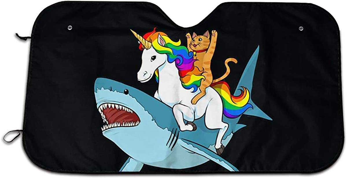 Label Love Shark Riding On Unicorn Cat Purpose Windshield Sun Shade Sunshades Keep Vehicle Cool Protect Your Car from Sun Heat & Glare Best UV Ray Visor Protector Size: 27.5