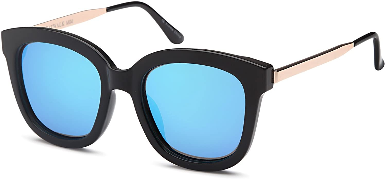 CATWALK UV400 Womens Round CatEye Sunglasses with Design Fashion Frame and Flash Lens Option