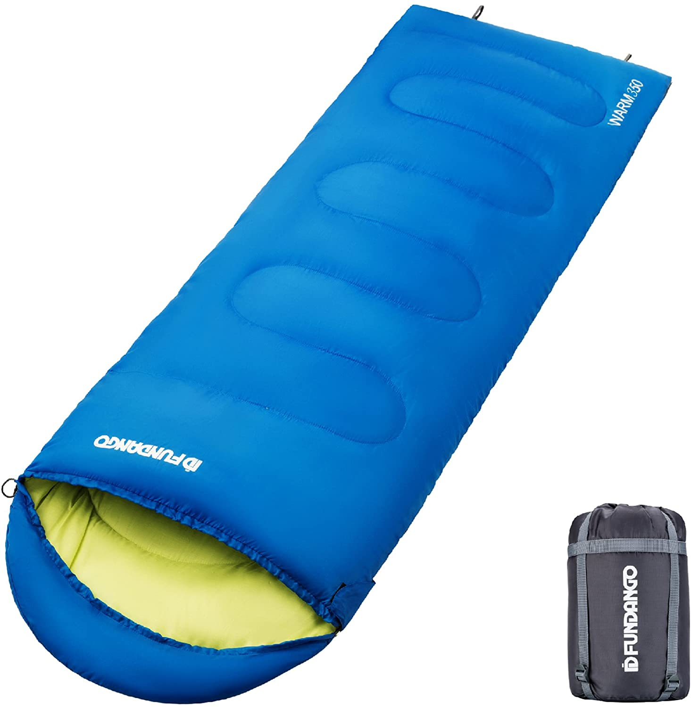 FUNDANGO Camping Sleeping Bag, Comfort 3 Season Sleeping Bag Warm Cool Weather for Indoors or Outdoors Traveling Equipment