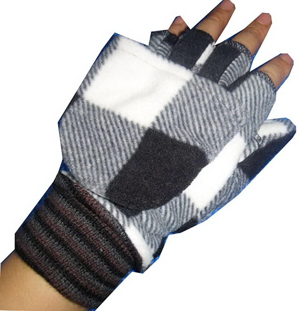 PANDA SUPERSTORE Womens Plaid Winter Glove Half-Finger Gloves Convertible Gloves (White&Black)