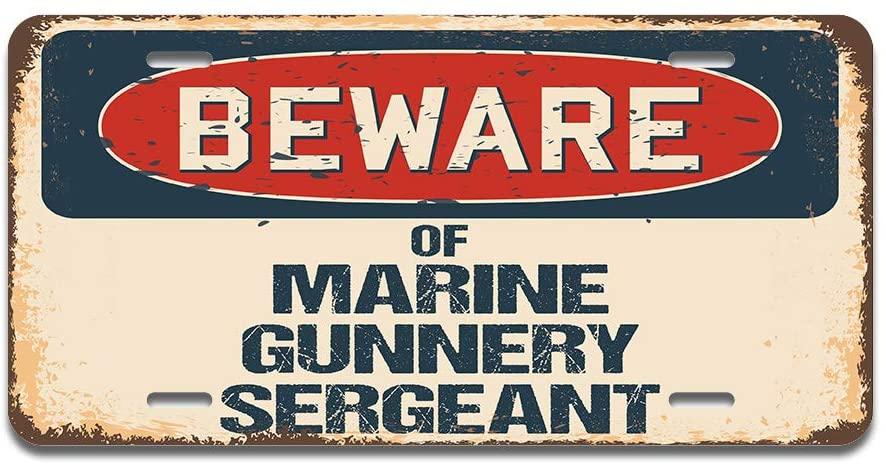 SignMission Beware of Marine Gunnery Sergeant Aluminum License Plate 12