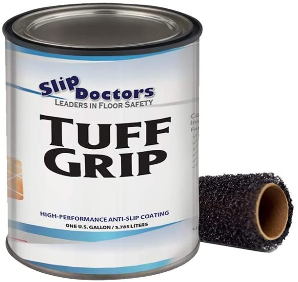 Slip Resistant Coating, Interior/Exterior, Textured to Increase Traction. Industrial Grade, High Performance - Tuff Grip (White, Gallon)