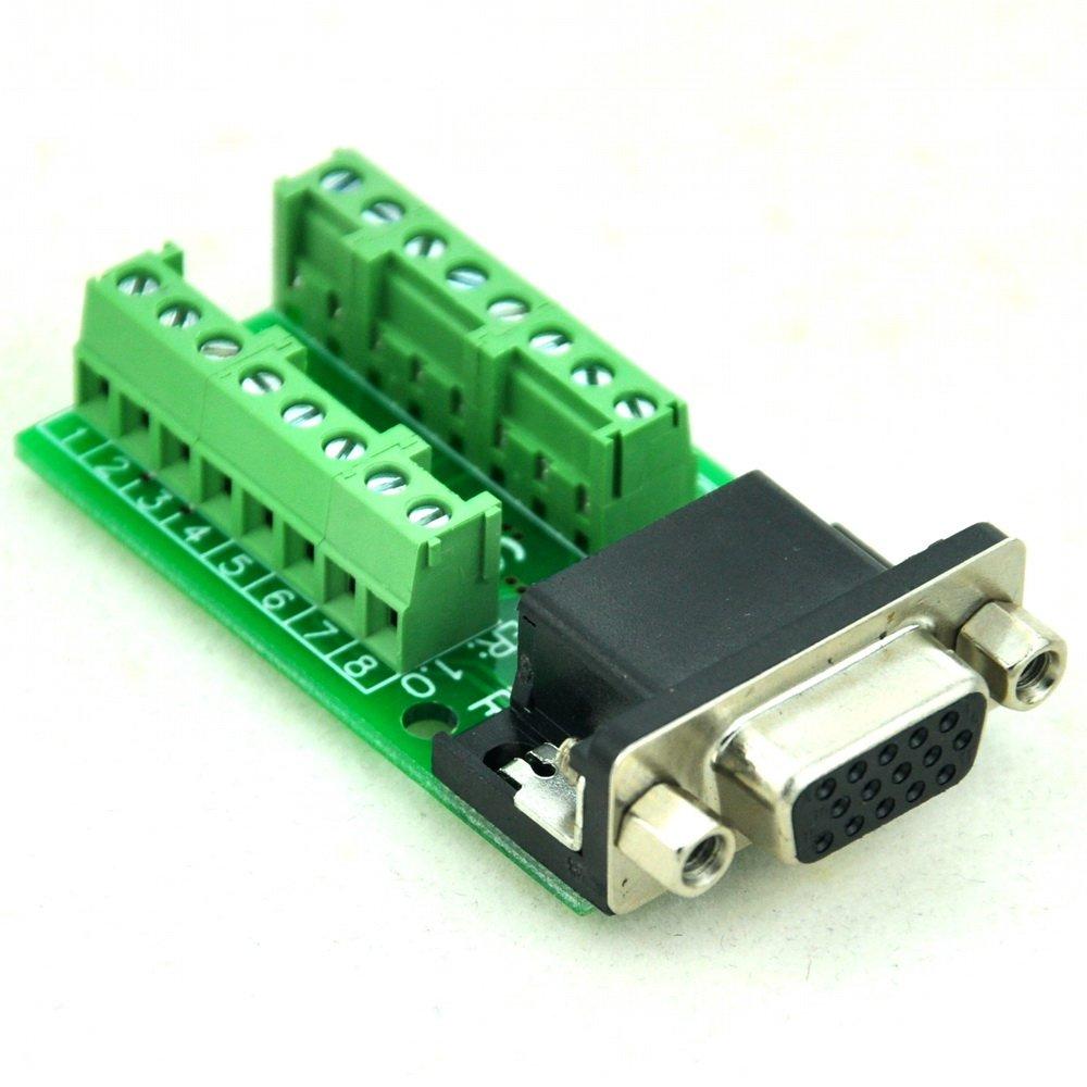 CZH-LABS Slim Right Angle D'sub Header Breakout Board, Terminal Block DSUB Connector Module (DB15HD Female)