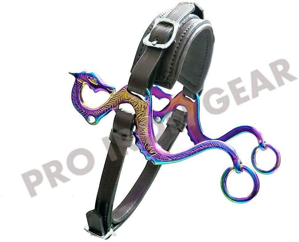 PRO IRON GEAR Rainbow Color Dragon Hackamore Bitless Horse Bit English Western Adjustable Leather (Black)