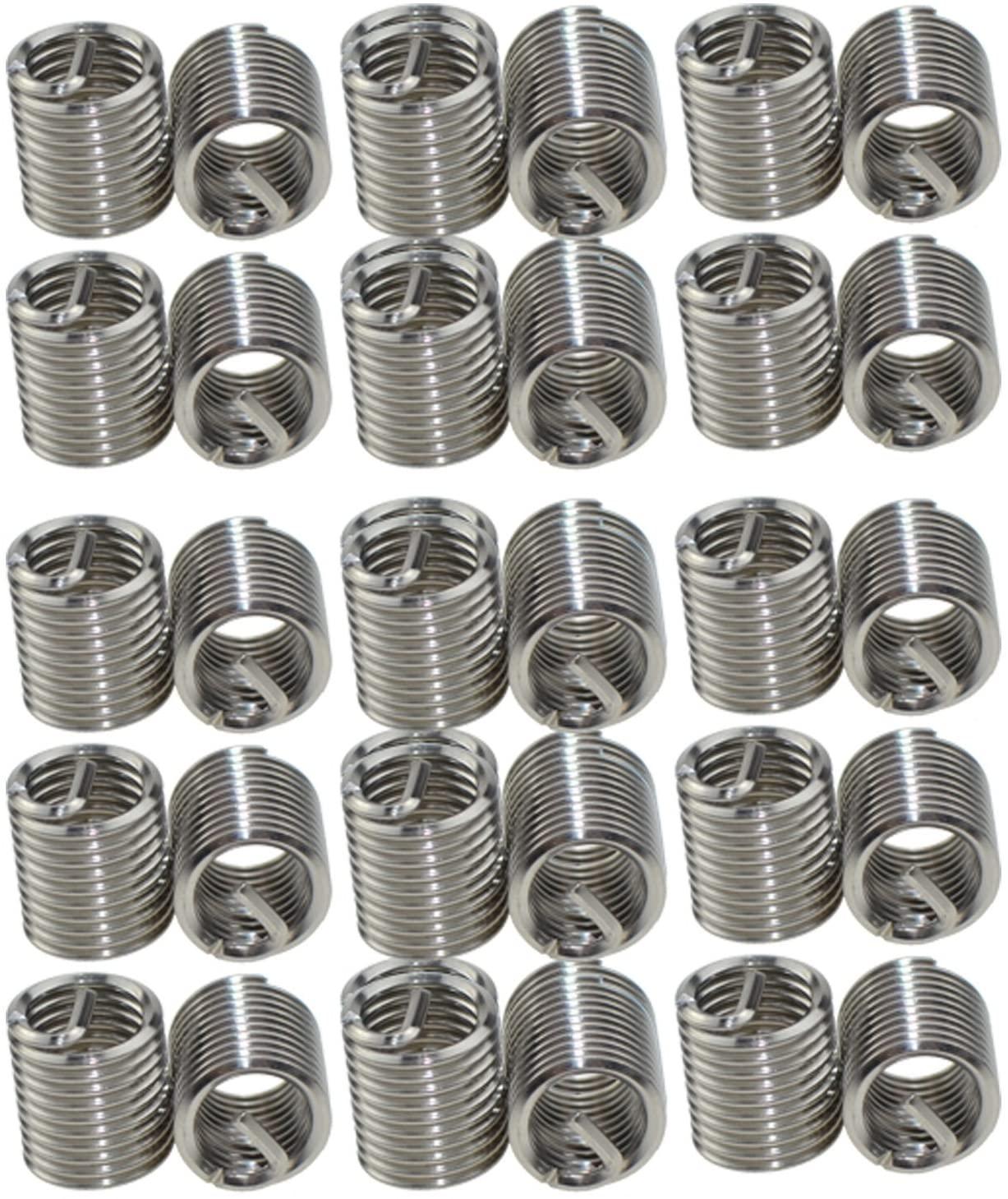 XunLiu 304 Stainless Steel Wire Thread Insert HeliCoil Stripped Thread Rethread Repair(30, M8-1.25X2.0D)
