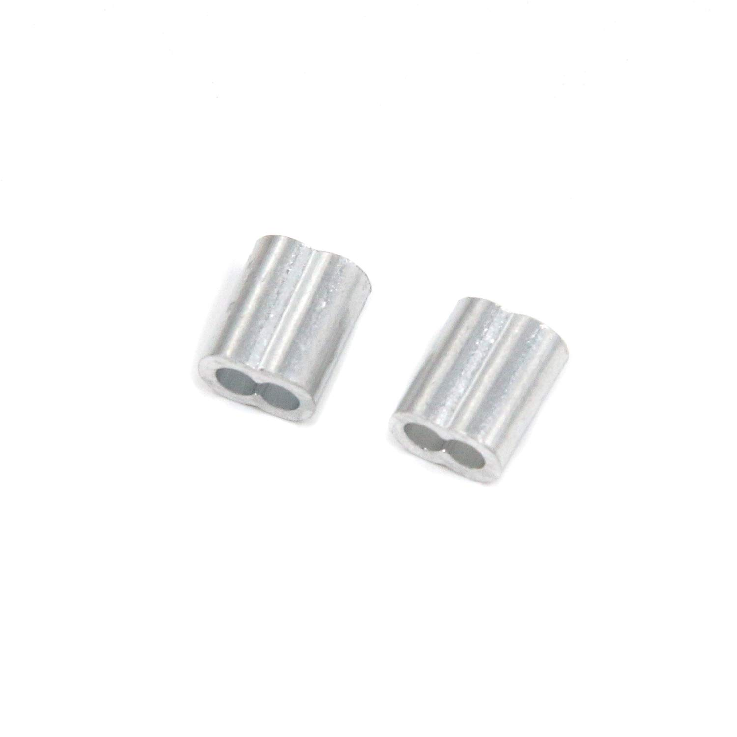 Quluxe 200 Pcs of 0.09 DiameterDouble Hole Cable Ferrule Aluminum Crimping Loop Sleeve for Wire Rope