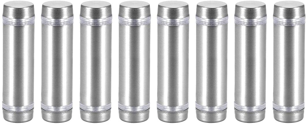 uxcell Glass Standoff Double Head Stainless Steel Standoff Holder 12mm X 44mm 8 Pcs