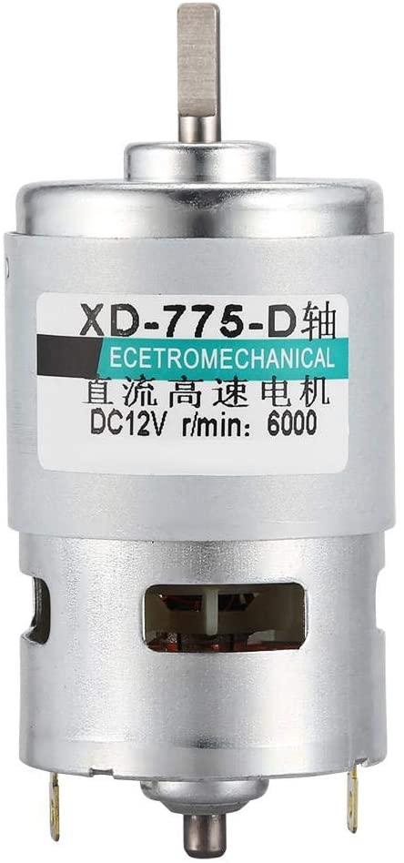 775 Double Ball D Bearing High Power Torque DC 6000RPM/ 12000RPM D Axis Mute Low Noise Motor(12V 6000RPM)