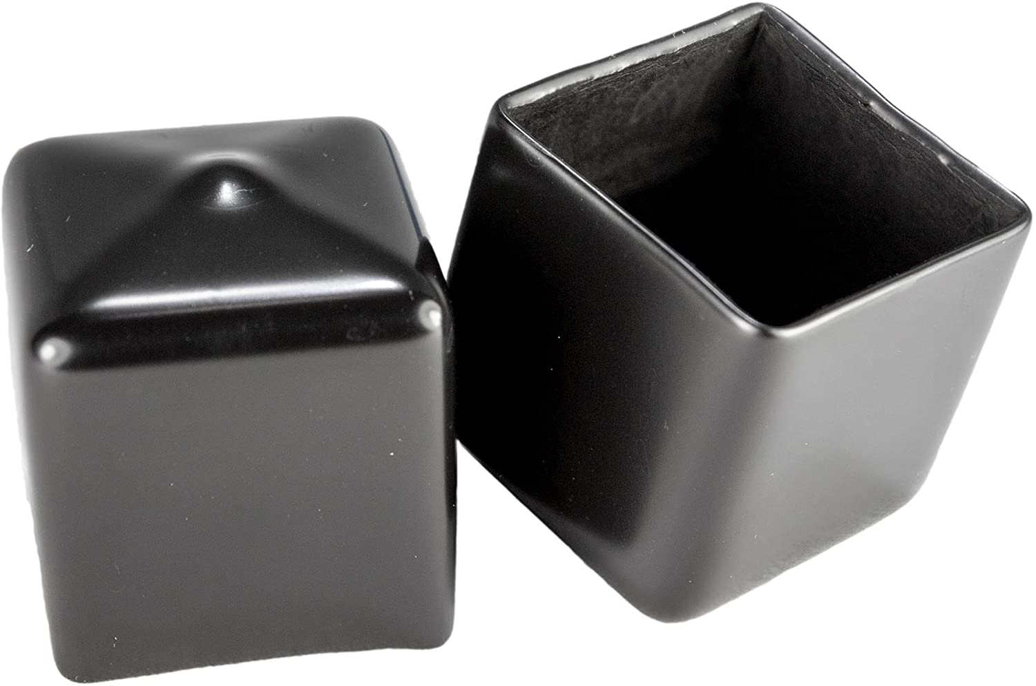 Prescott Plastics 1 Inch Square Black Vinyl End Cap, Flexible Pipe Post Rubber Cover ((C) Pack of 50 Caps)