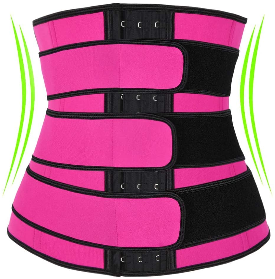Lynz Pure Waist Trainer for Women Weight Loss Slimming Waist Trimmer Workout Corset Belt Shapewears Girdles M Rose red