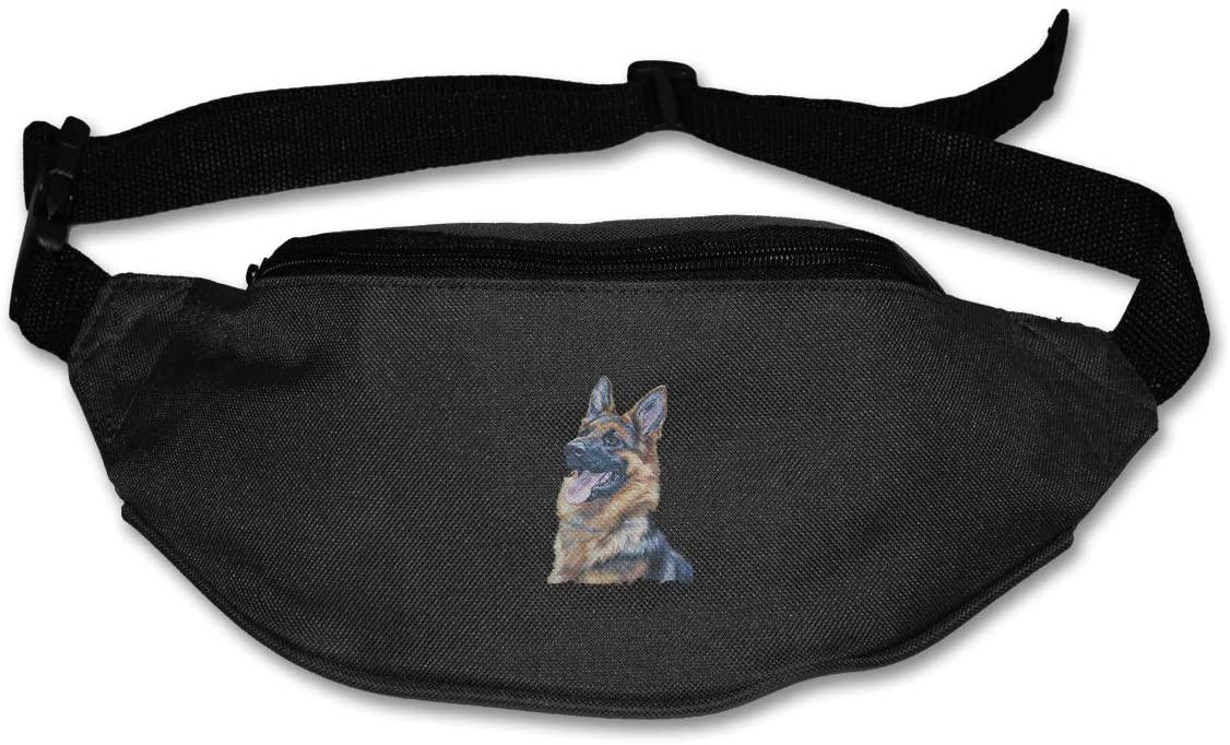 LINHA German Shepherd Fanny Pack for Men Women - Waist Bag Pack - Lightweight Belt Bag for Travel Sports Hiking
