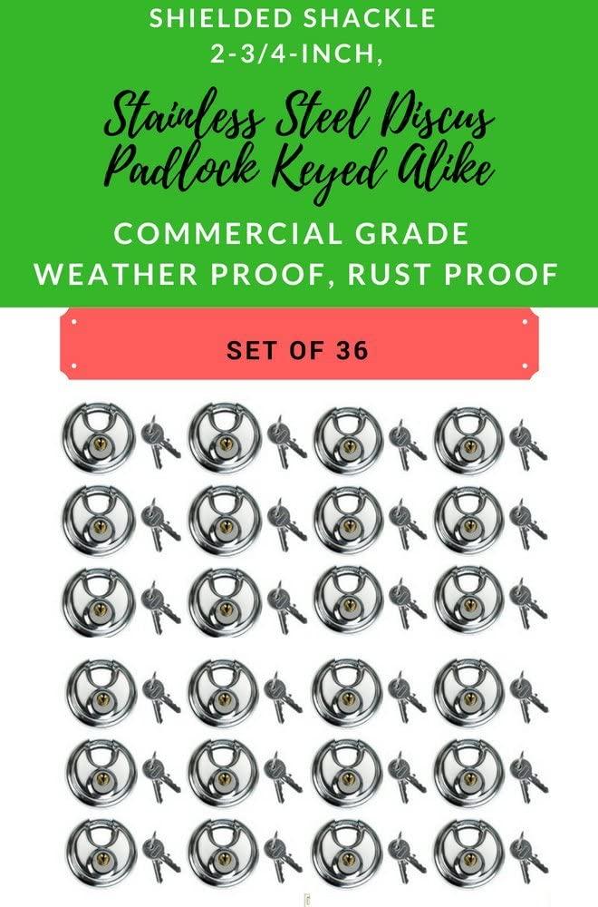 Set of 36, Round Disc Padlocks Keyed Alike 70mm, 2-3/4-inch Heavy Duty Stainless Steel Discus Lock Padlock Hardened Steel Shackle Waterproof Weather Proof Commercial Grade All The Same Keys(36)