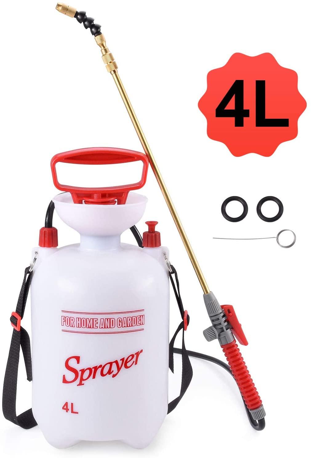 Seeutek 1.1Gal Garden Lawn Sprayer Pump Weed Sprayers Bottle Hand Pressure Spray for Yard with Pressure Relief Valve, Adjustable Shoulder Strap,4L