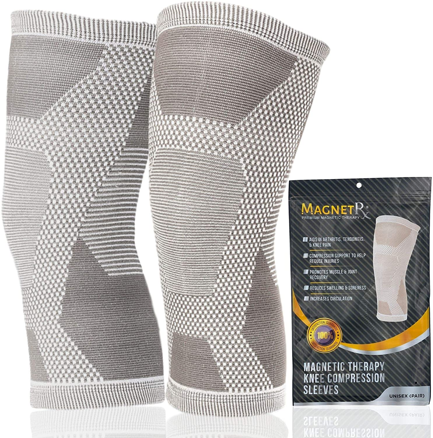 MagnetRX® Magnetic Therapy Knee Compression Sleeve - (2-Pack) Knee Support with Magnets for Knee Pain & Recovery - Magnet Therapy Knee Brace Support (Grey, Large)