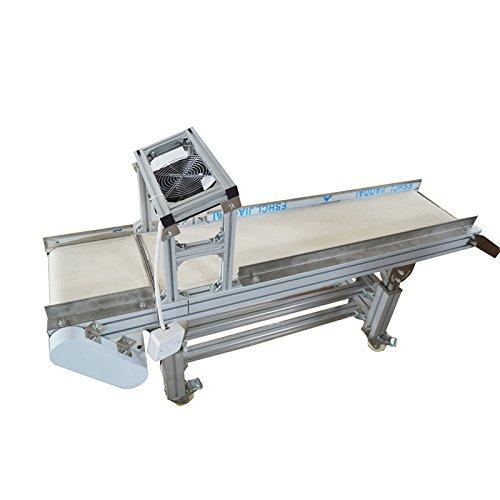 INTBUYING 110V Packaging Machine Long PVC Belt Conveyor 59inch Length 7.8inch Width Single Guardrail Conveyor