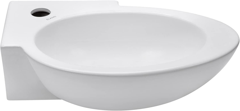 Elanti Collection EC1603-R Elanti 1603-R Porcelain Wall-Mounted Oval Compact Sink