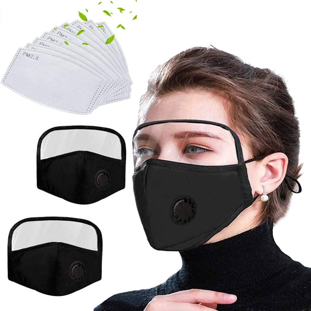 2 packs of neutral protective mouth set, adjustable, reusable, with 10 pieces of PM2.5, used for allergic woodworking running, sanding and mowing-Blackx