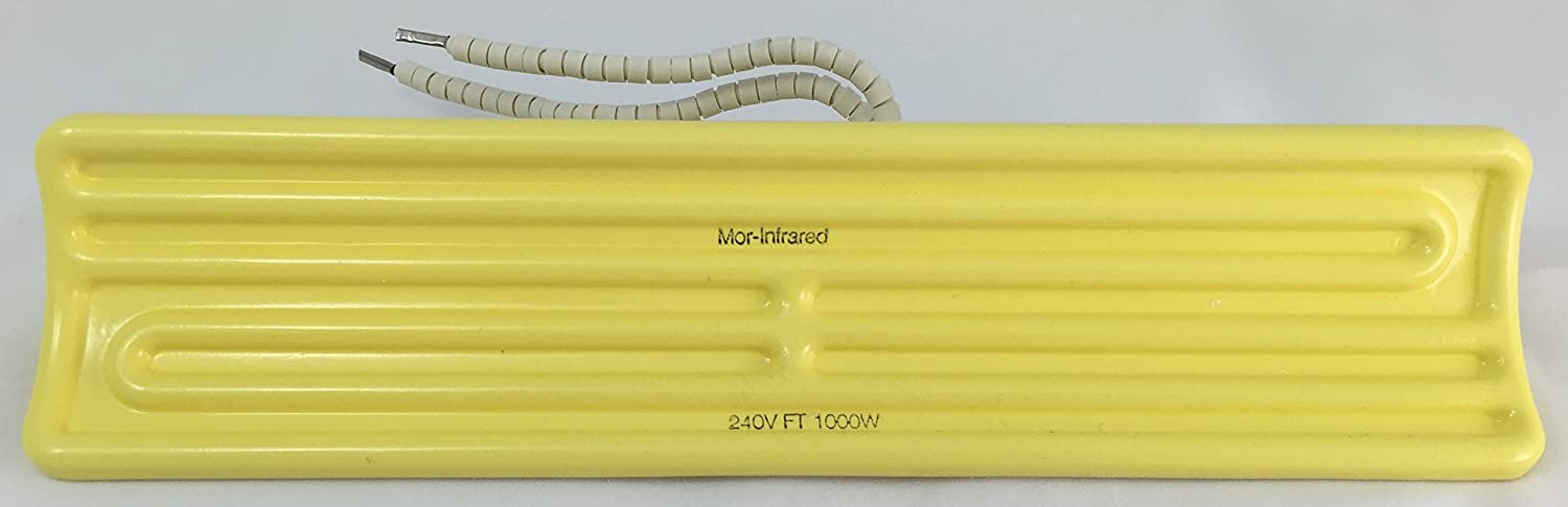 Mor-Infrared FT-1000-240-0-L6-Y-0 Ceramic Infrared Heating Element for Industrial Processing Applications - 240 Volt - 1000 Watt - Yellow Glaze - 9.65 Inches Long x 2.36 Inches Wide
