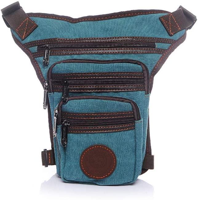 AlwaySky Men's Canvas Shoulder Diagonal Casual Outdoor Leg Bag Waistpacks Hiking Fanny Packs