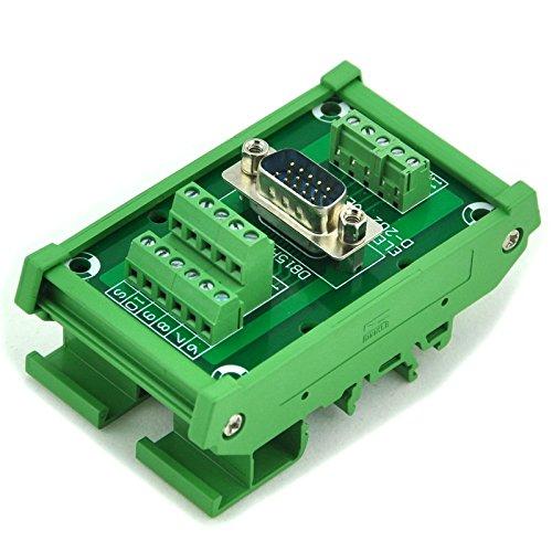 Electronics-Salon D-SUB DB15HD Male DIN Rail Mount Interface Module, Breakout Board.