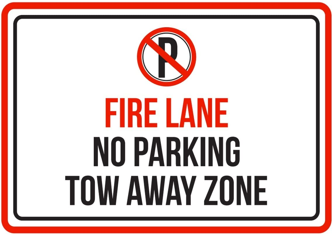iCandy Products Inc Fire Lane No Parking Tow Away Zone Red, Blk & White Business Commercial Safety Warning Small Sign, Plastic, 7.5x10.5