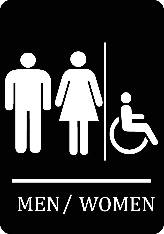 Family Handicap Accessible Bathroom Black Sign - Aluminum Metal 4 Pack