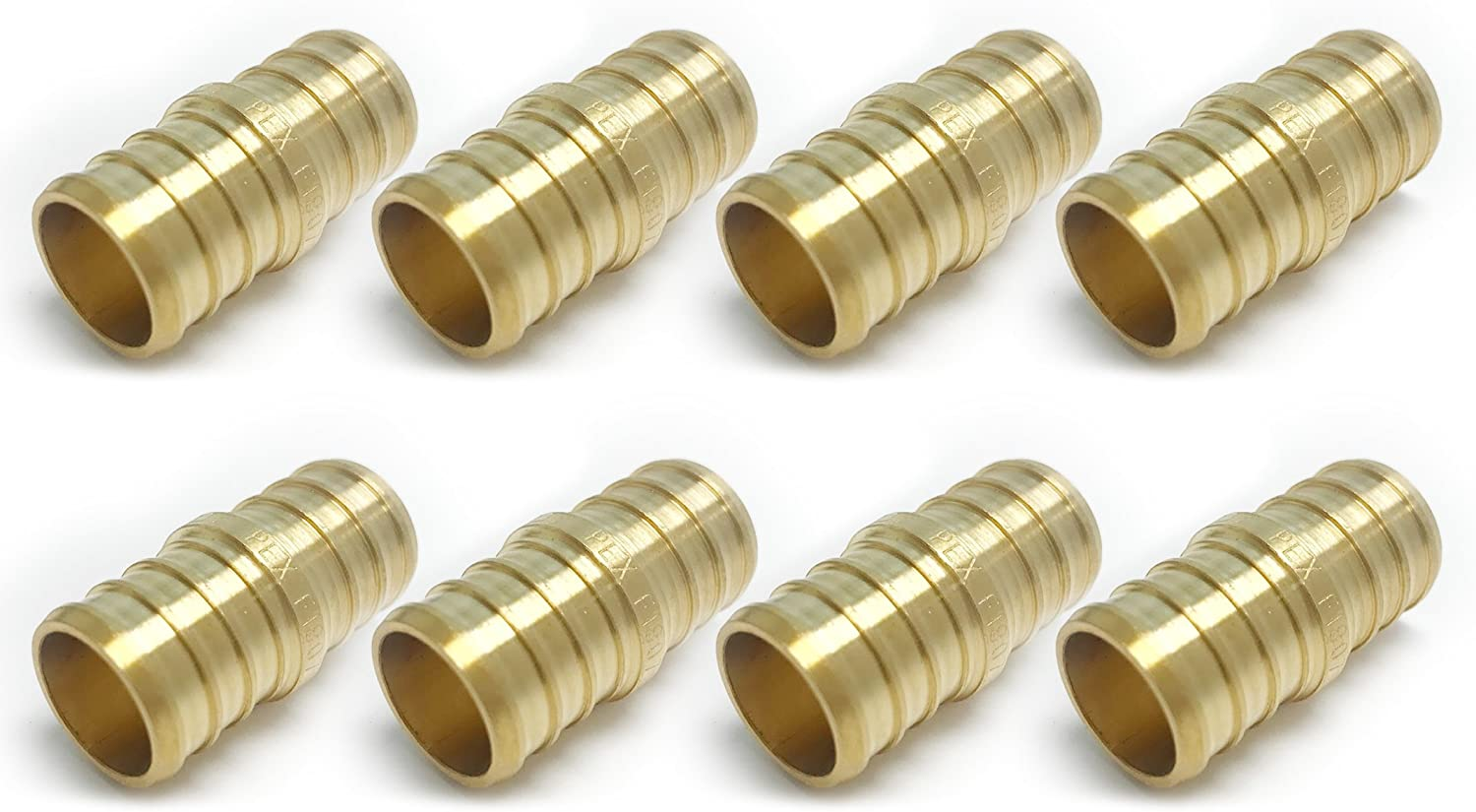 (Pack of 8) EFIELD PEX 1/2INCH BRASS STRAIGHT COUPLINGS CRIMP FITTING(NO LEAD) -8 PIECES