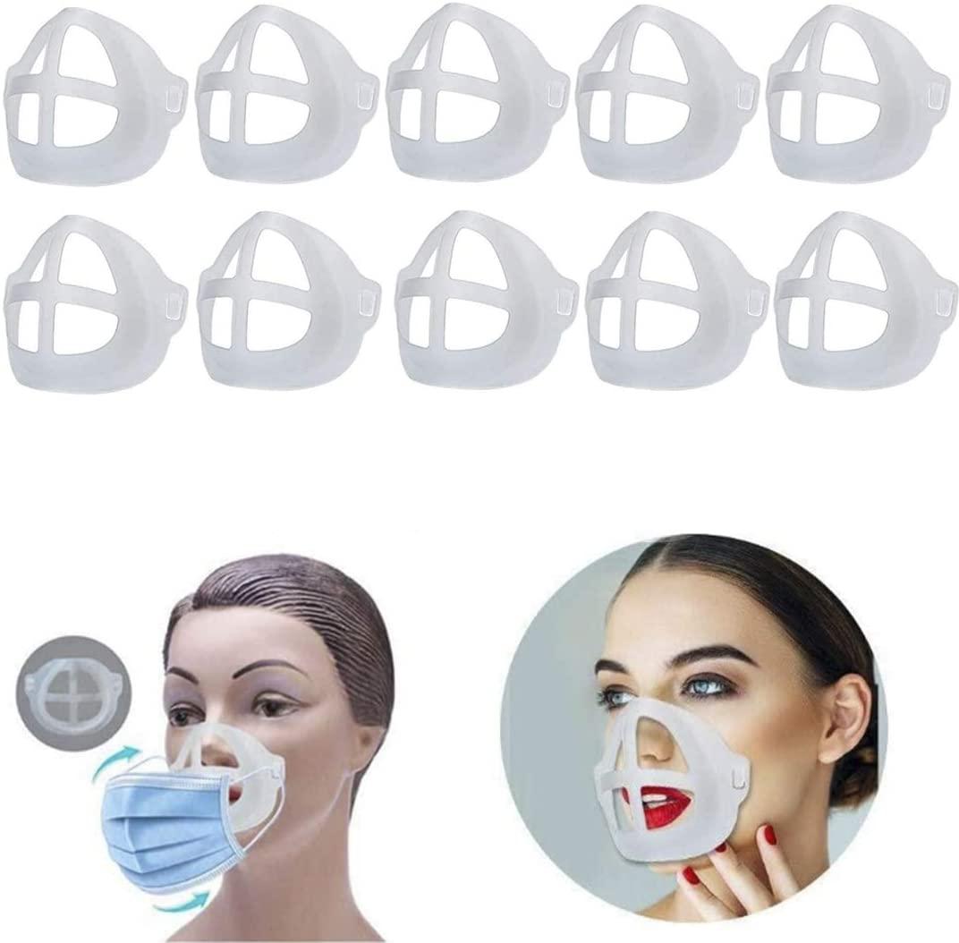3D Face mask Bracket,Face Inner Support Frame for Comfortable Wearing,Washable and Reusable Translucent Internal Support Frame Bracket (10 PCS)