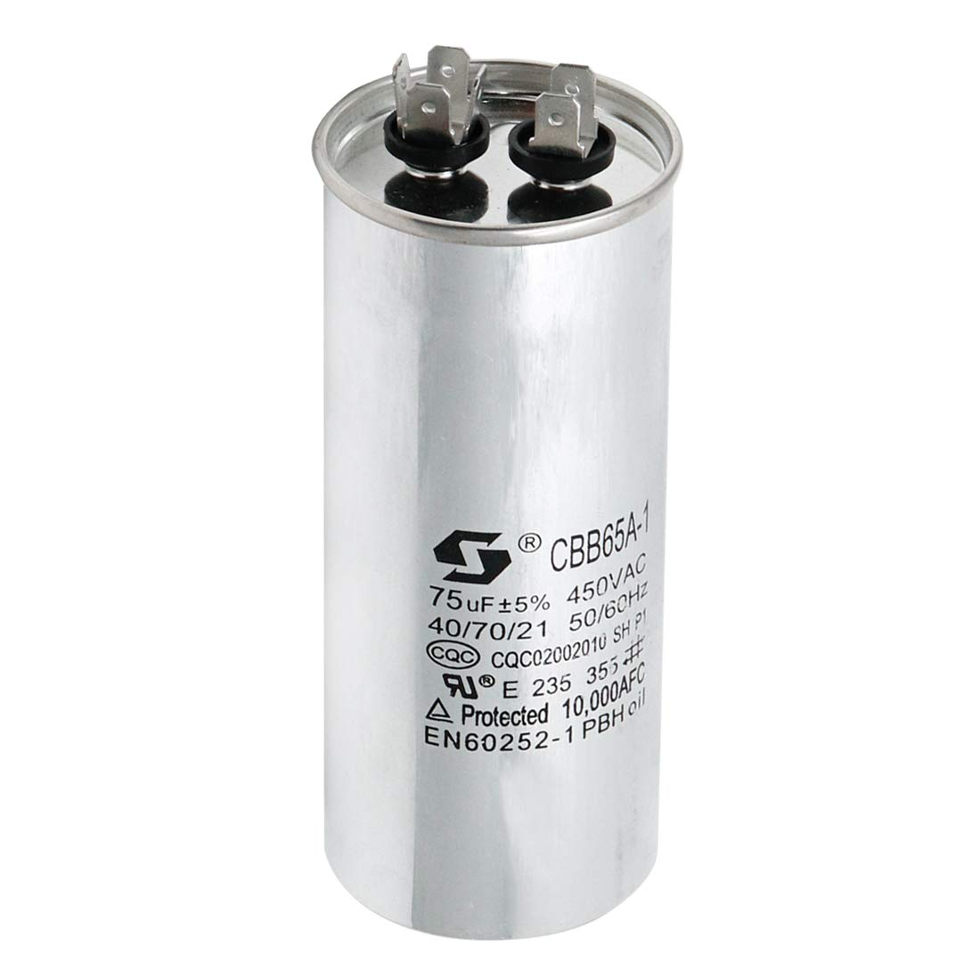 Sydien Cylindrical CBB65 Motor Run Capacitor 75UF for Running Air Conditioners with Frequency of 50Hz/60Hz & High-Power Lighting