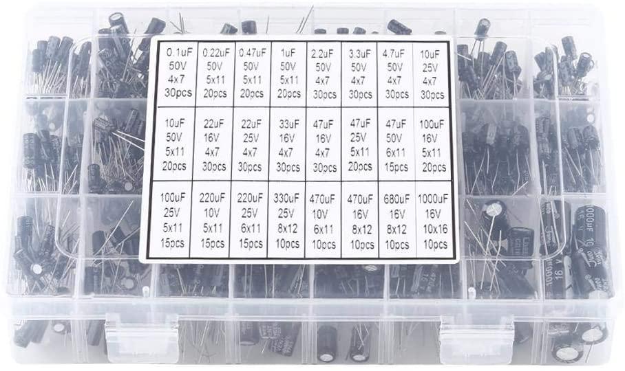 Greensen 500pcs 24 Values Electrolytic Capacitor Range 0.1uF-1000uF Assortment Set, Aluminum Electrolytic Capacitors Kit for TV, Radio, Stereo, 10V to 50V