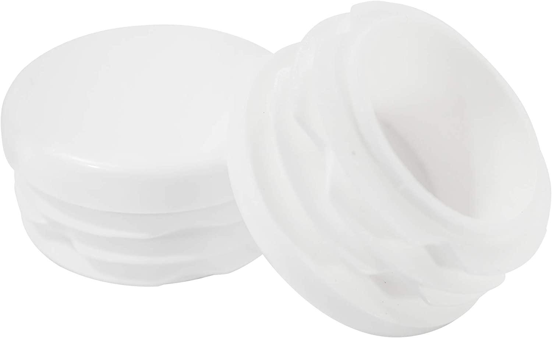 Prescott Plastics 1 1/4 Inch Round White Plastic Plug, Tubing End Cap, Durable Chair Glide (50)
