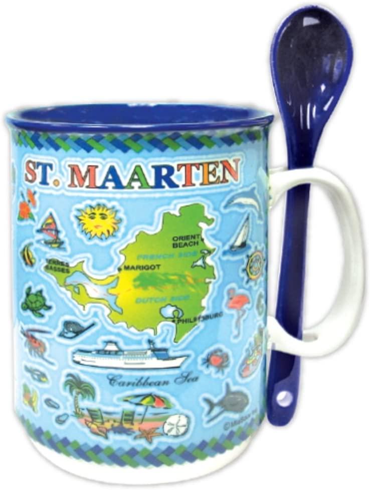Mug and Spoon Set St. Maarten Map Souvenir and Gift - Ceramic Coffee Mug with Spoon Combo 14 oz (St. Maarten)