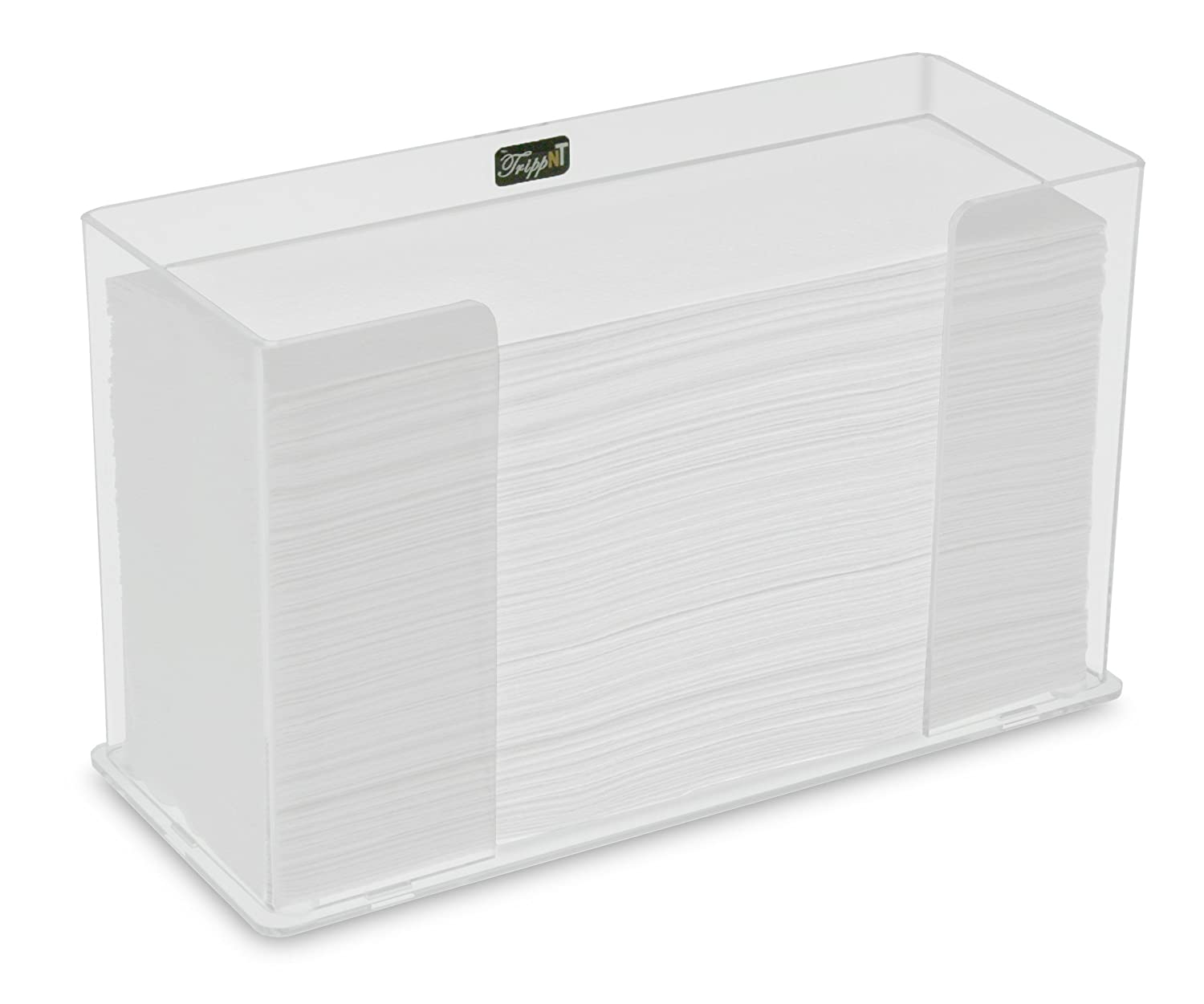 TrippNT 52916 Counter Top Clear Acrylic Fold/Multifold Paper Towel Dispenser, 11 1/4 x 6 5/8 x 4 5/8 inches WHD
