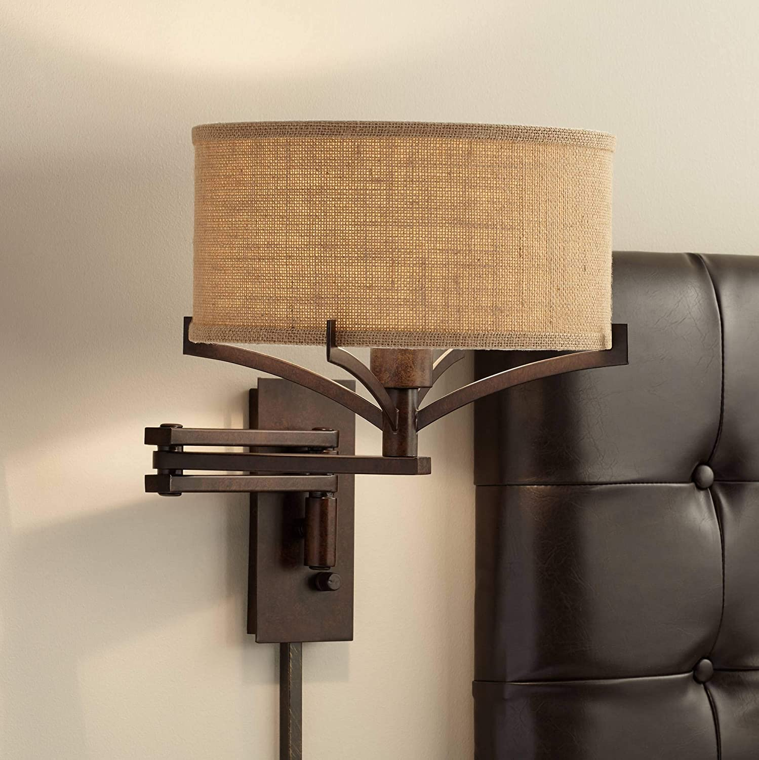 Tremont Rustic Farmhouse Swing Arm Wall Lamp Bronze Plug-in Light Fixture Tan Burlap Drum Shade for Bedroom Bedside Living Room Reading - Franklin Iron Works
