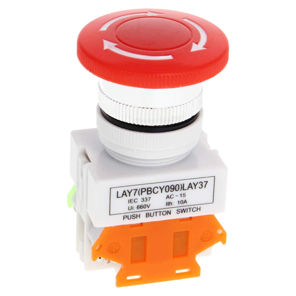 Fielect Emergency Stop Push Button Switch AC 600V 10A Red Mushroom Cap Switch Equipment Lift Elevator Latching Self Lock 25mm Mounting Hole 1Pcs Y090-11ZS