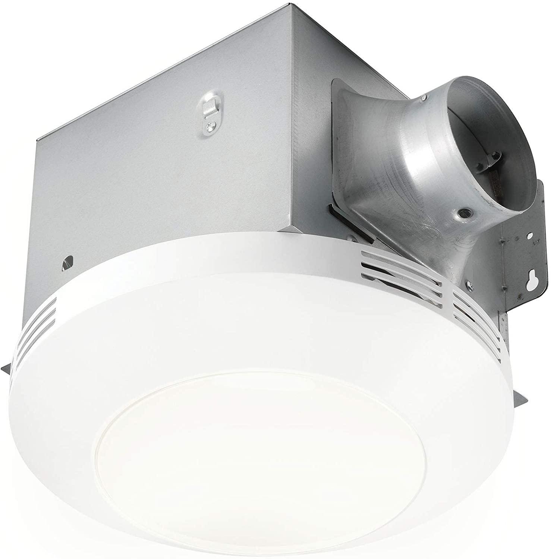 Homewerks Worldwide 7117-01-WH Bathroom Fan Integrated LED Light Ceiling Mount Exhaust Ventilation 1.1 Sones 80 CFM, White
