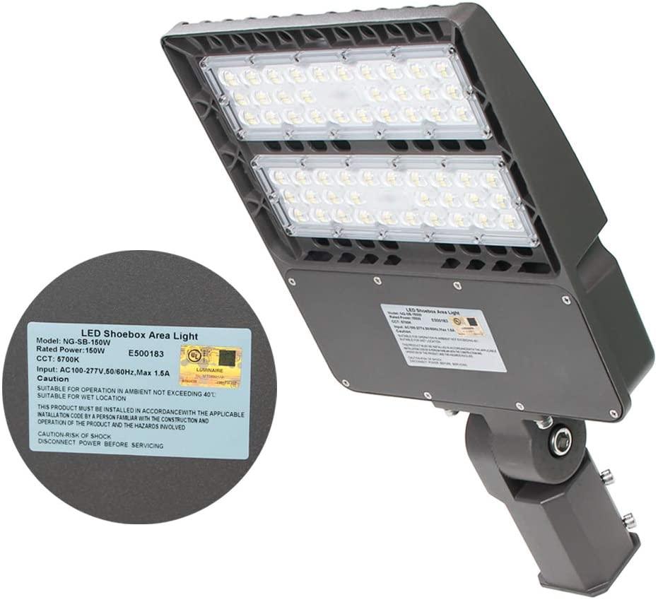 LED Parking Lot Light, 150W LED Street Lights Shoebox Pole Lights Fixture 20250LM 5700K IP65 Waterproof Outdoor Area Road Lighting Slip Fitter, DLC UL Listed - 450W HID/HPS Replacement