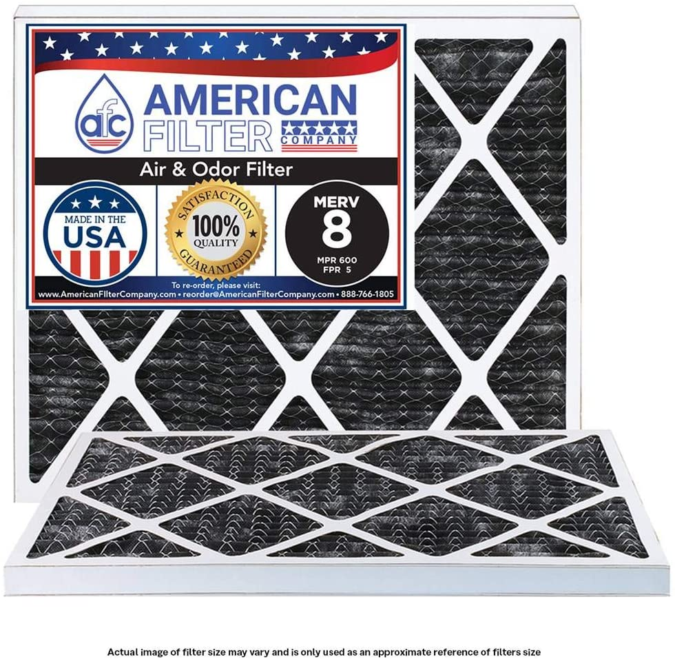 (2 Packs) American Filter Company Brand Compatible to 10x10x1 Air Filters MERV 8 Odor (MPR 600 - FPR 5) Type