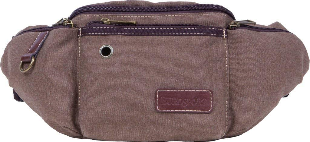Eurosport Canvas Rustic Brown Fanny Pack B500 with Side Pockets and Buckle Back