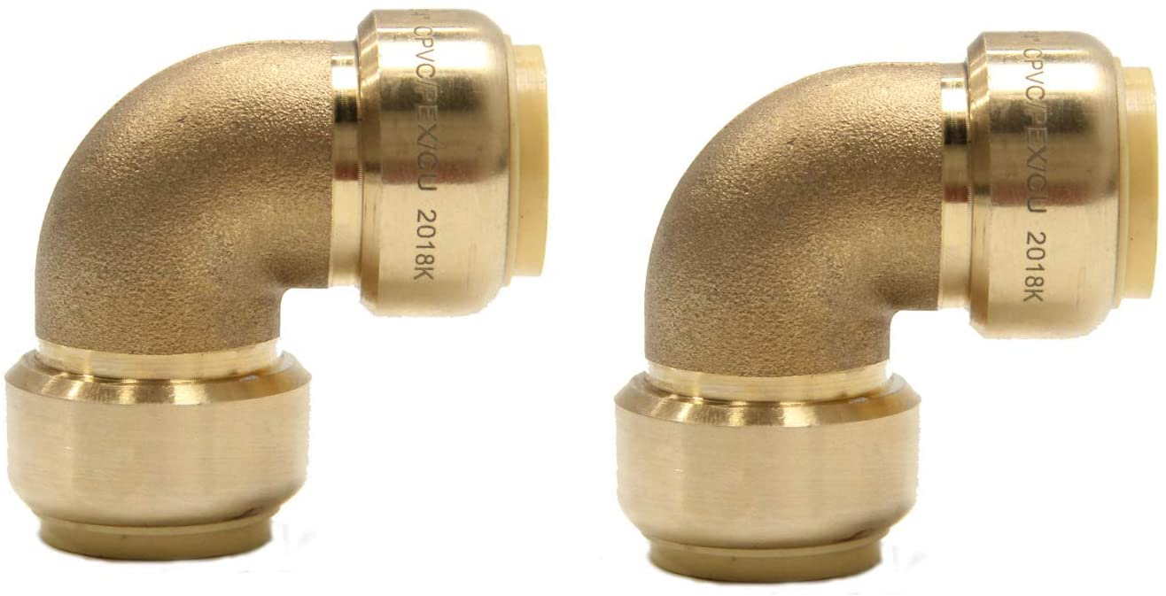(Pack of 2) EFIELD 3/4 Inch Elbow Push-Fit Fitting to Connect Pex, Copper, CPVC, No-Lead Brass-2 Pieces