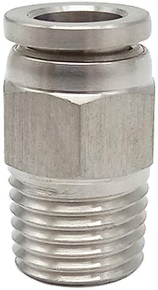 Metalwork 304 Stainless Steel Push to Connect Air Fitting, Male Straight Connector, 8mm OD x 1/8