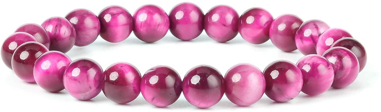 YUGDRUZY Beads Bracelet, 10mm Crystal Bracelet Natural Stone Round Gemstone Bracelet Elastic Healing Yoga Bracelet for Women Men Girl Semi-Precious Agate