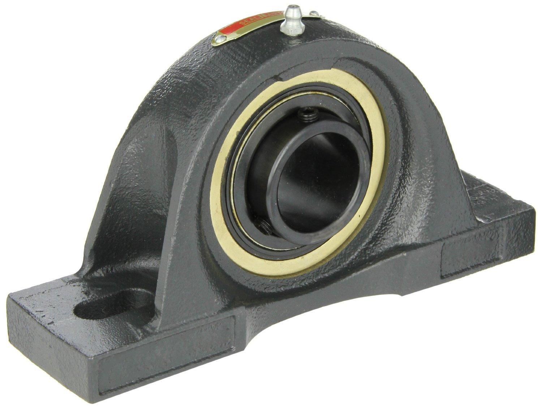 Sealmaster EMP-55 Pillow Block Ball Bearing, Expansion Type, Medium-Duty, Regreasable, Setscrew Locking Collar, Felt Seals, Cast Iron Housing, 3-7/16