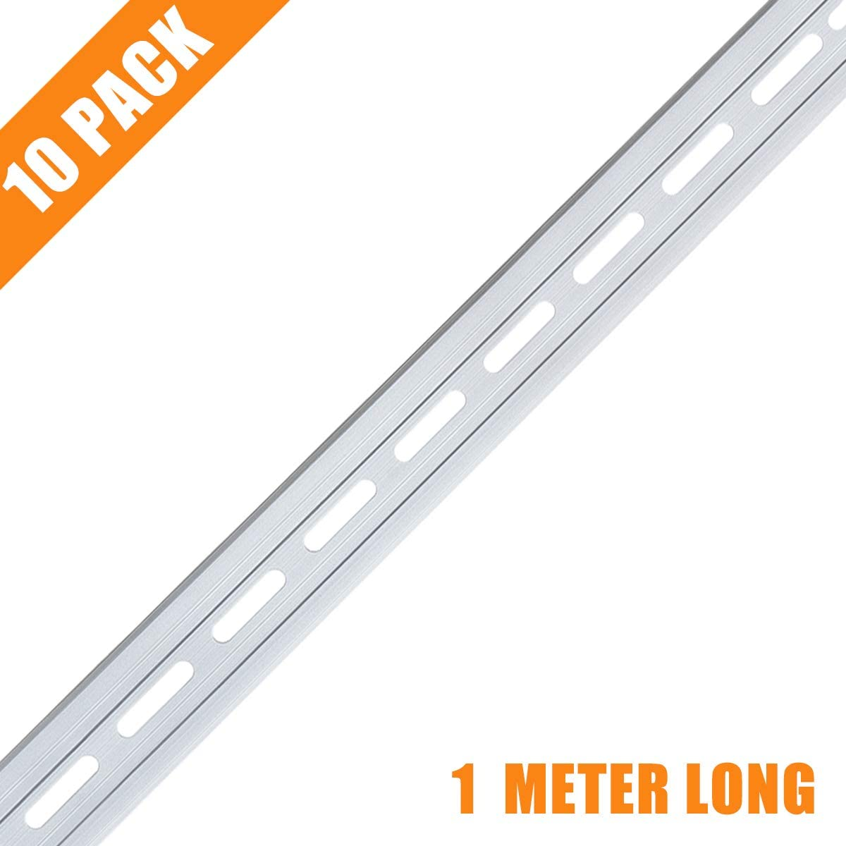 1 Meter DIN Rail, 10 Pieces Aluminum Top Hat Slotted DIN Rails with RoHS for Professionals and DIY Cut Length | Hardware Components Mounting - 1 Meter Long, 35mm Wide, 7.5mm High