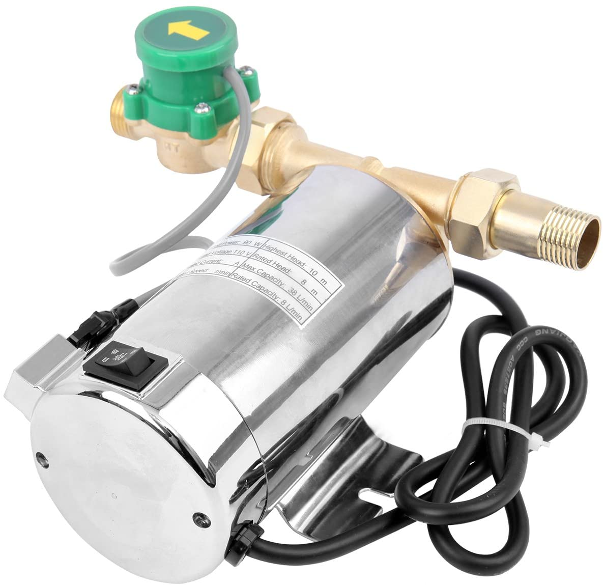 TryE 110V 90W Water Pressure Booster Pump 60HZ 87PSI Automatic Shower Booster Pump with Water Flow Switch Household